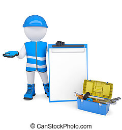 3d white man in overalls with checklists and tools. Isolated...