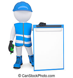3d man in overalls with a checklist and a marker