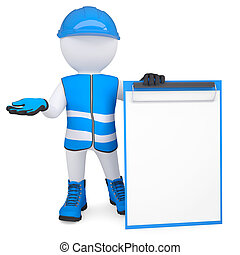 3d man in overalls with a checklist - 3d white man in...