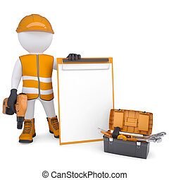 3d man in overalls with checklist