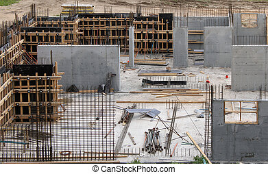 Construction site. The walls of the steel reinforcement and...