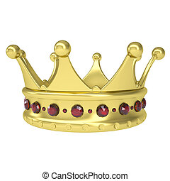 Gold crown decorated with rubies. Isolated render on a white...