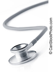 Close up view of grey stethoscope on white back