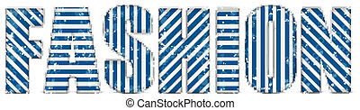 Fashion Glamour Letters with Blue Stripe Pattern - Vector -...