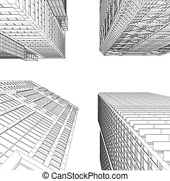 Skyscraper rendering in lines Isolated render on a white...