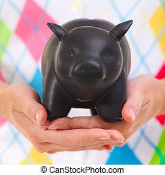女, 彼女, 小豚, 保有物, 手, 銀行