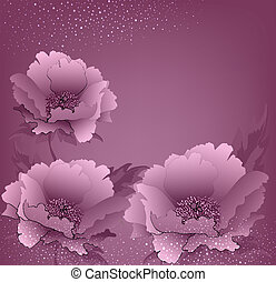 vector holiday background with peony flowers