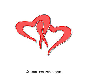 Two hearts intertwine among themselves on a white background