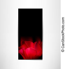 romantic card with red tulip petals on a black background