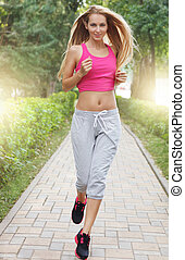 Sport fitness running young woman