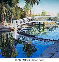Park Walk - A white trestle bridge spans a canal in Venice,...