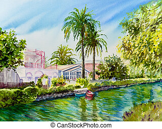 Twosome - Two lush palm trees stand over two boats on a...