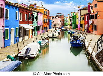 Burano village near Venise - Colorful buildings in Burano...