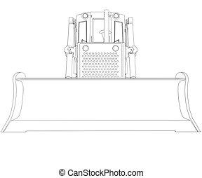 Tractor rendering in lines. Isolated render on a white...