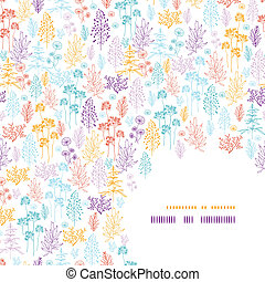 Colorful flowers and plants corner pattern background -...