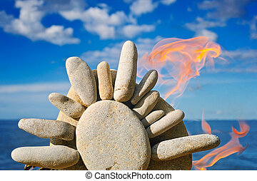 Fire and the stone sun - The stone symbol of the sun burns...