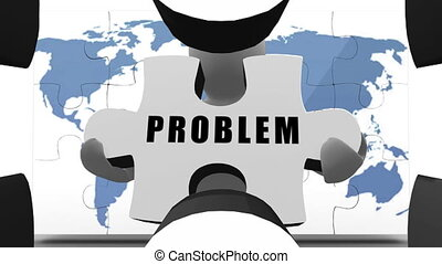 White figure holding jigsaw pieces to solve business problem...
