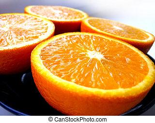 laranja, corte, frações