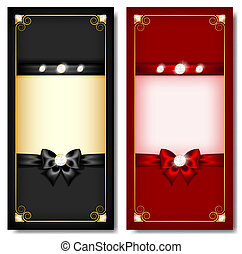 Greeting cards black & red - Vector illustration -...