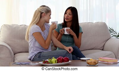 Attractive friends chatting over cups of coffee sitting on...