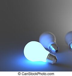 light bulb 3d on blue background