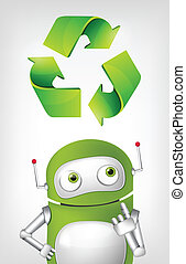 Green Robot - Cartoon Character Green Robot Concept...