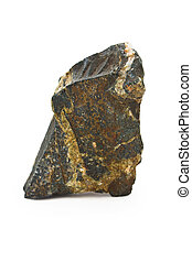 isolated stone white rock background natural granite boulder...