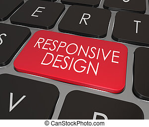 Responsive Design Computer Keyboard Red Key Website...