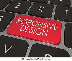 Responsive Design Computer Keyboard Red Key Website...