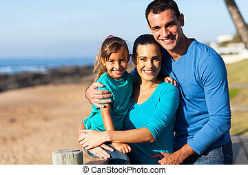happy family at the beach - happy modern family at the beach