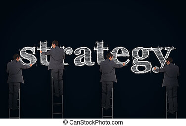 Multiple image of a businessman writing strategy