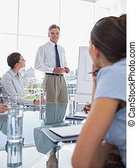 Businessman standing in front of colleagues during a meeting