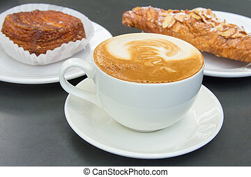 Cup of Caffe Latte with Pastry Background - Cup of Caffe...