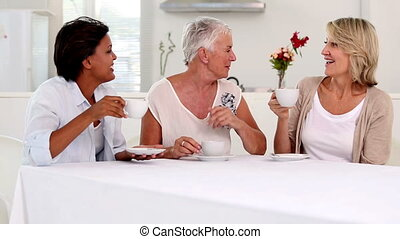 Mature women gossiping during afternoon tea in the kitchen