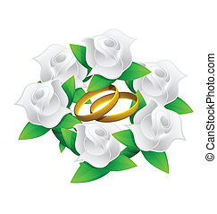 flower and rings wedding bouquet illustration design over...