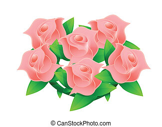 pink flower wedding bouquet illustration design over white