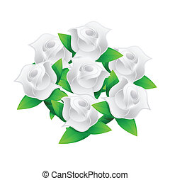 white flower wedding bouquet illustration design over white