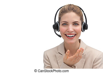 Customer service operator with headset on a white background