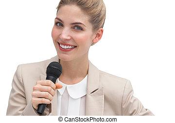 mujer de negocios, público, Oratoria