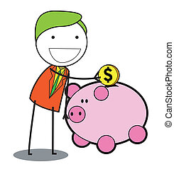 man piggy bank