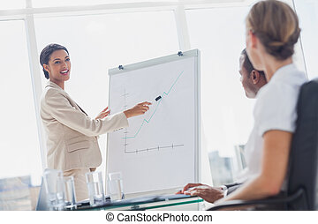 Cheerful businesswoman pointing at a growing chart