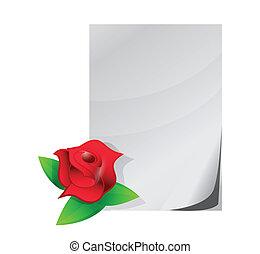 red rose love letter illustration design