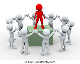 3d team leader and team members - 3d illustration of group...