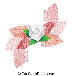 rose over red leaves illustration design