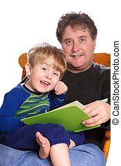 Storytime - a father reads to his young son