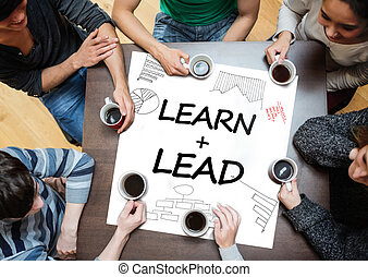 Learn plus lead written on a poster with drawings of charts...