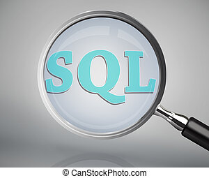 Magnifying glass showing sql word on grey background