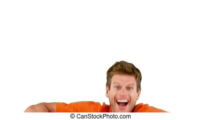 Attractive man jumping in front of