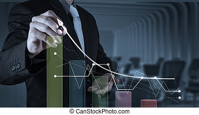 businessman hand draws business success chart concept on...