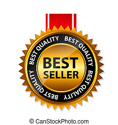 Vector best seller gold sign, label template